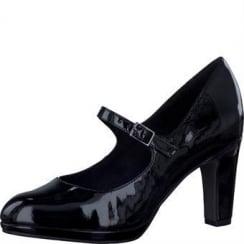 Tamaris Black Patent Mid Heels -24406-27 018