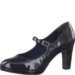 Tamaris Dark Blue Patent Mid Heels- 24406-27 817