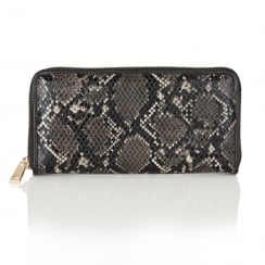 Lotus Ayanna Black/Grey Snake Print Purse - 1634
