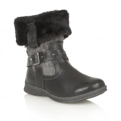 Lotus Relife Roxana Black Faux-Fur Ankle Boots - 40232