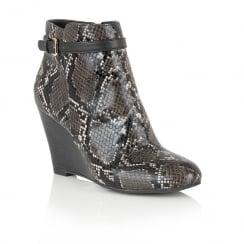 Lotus Aiken Black/Grey Snake Print Wedge Ankle Boots - 50651