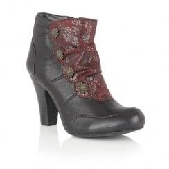 Lotus Hallmark Martiza Leather Black Heeled Ankle Boots - 60037