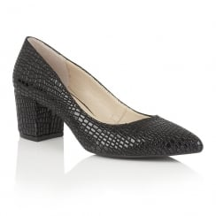 Lotus Alaura Black Croc Print Court Shoes - 50663