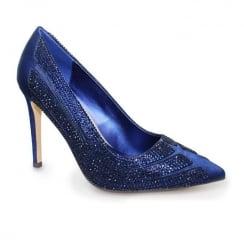 Lunar Sasha Diamante Heel - Navy Court Shoes FLR372