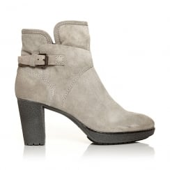 Moda In Pelle Calvo Womens Heeled Ankle Suede Boots - Grey