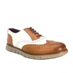 London Brogues Gatz Casual Oxford Mens Brogue Shoes - Tan/White