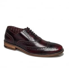 London Brogues Mens Gatsby Lace Up Shoes - Bordo Hi Shine