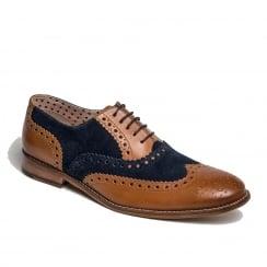 London Brogues Mens Gatsby Leather Brogue Smart Shoe - Tan/Navy