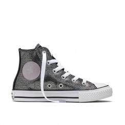 BTS Shimmer Chuck All Star Hi Top Yth/Jr Sneakers -Silver-654213C
