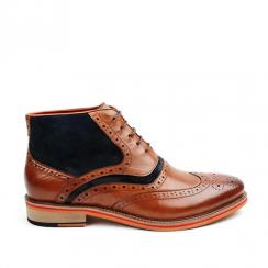Morgan & Co Mens Brogue Laced Boots - Tan/Navy - MGN0360