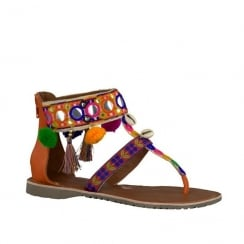 Marco Tozzi Womens T Bar Flat Sandals - Multicolour