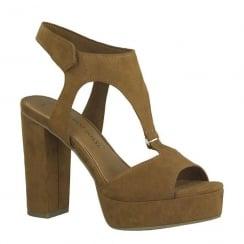 Marco Tozzi Platform Heeled Sandals - Cognac