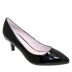 Lunar Womens Parker Low Heel Court - Black Patent