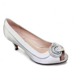 Lunar Womens Ripley Satin Peep Toe Court - Silver