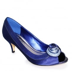 Lunar Womens Ripley Satin Peep Toe Court - Navy Blue