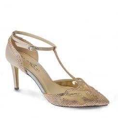 Lunar Womens Amor Embellished Court Heels - Nude - FLR408