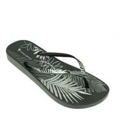 Lunar Women's Foliage Flip Flop Sandal - Black