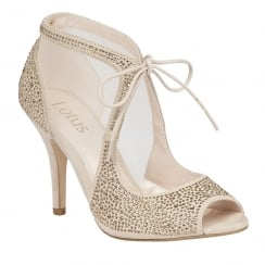 Lotus Vanille Mesh Diamante Shoes - Nude/Gold - 50719