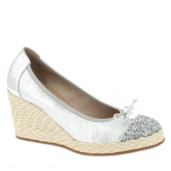 Wonders Leather Wedge Pump - Silver