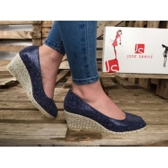 Jose Saenz 6017 Navy Peep Toe Wedge