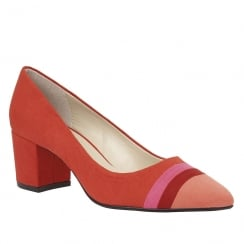 Lotus Gamma Red Multi Microfibre Low Heel Court Shoe - 50738