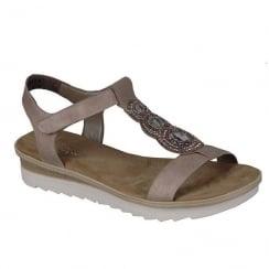 Rieker Ladies Rose Medallion Design Flat Sandals
