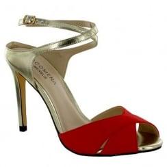 Menbur Monaco Red Gold High Heels Sandals