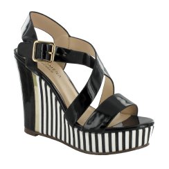 Menbur Paris Black/White Wedge Platform Sandals