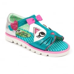 Irregular Choice Girls Kitty Teal Sandals