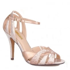Womens Glamour Peep Toe High Heel Glitter Rose Sandals