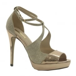 Womens Glamour Sparkle Rose Gold Platform Sandals