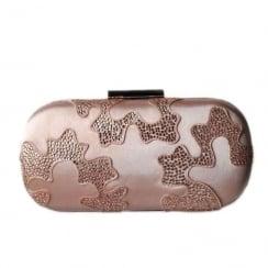 Glamour Rose Gold Satin Clutch Bag