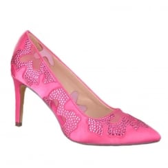 Glamour Pink Satin Poined Court Shoes