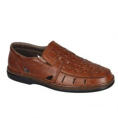 Rieker Mens Slip on Woven Brown Leather Shoes