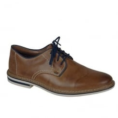 Rieker Mens Smart Lace-Up Brown Leather Shoes