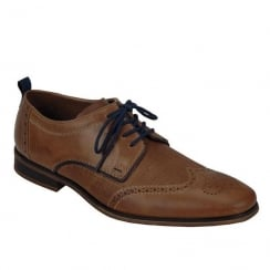 Rieker Mens Smart Lace-Up Tan Leather Brogue Shoes