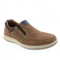 Rieker Mens Slip on Brown/Tan Nubuck Leather Shoes