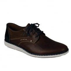 Rieker Mens Lace Up Dark Brown Casual Leather Shoes