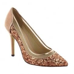 Menbur Ason Rose/Gold Glitter Evening Pointed Heels - 007045