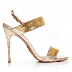 Moda in Pelle Sicilla Gold Special Occasion Stiletto Sandals