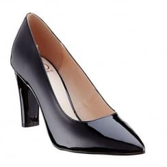 Caprice Black Patent Pointed Court Heels