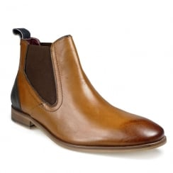 Pod Mens Phoenix Cognac Leather Chelsea Ankle Boots