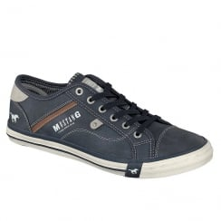 Mustang Mens Navy Leather Trainers