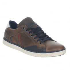 Tommy Bowe Aki Slate Brown Leather Mens Trainers