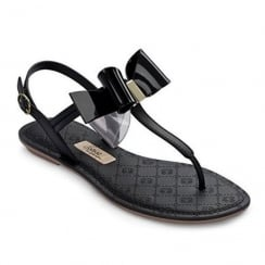 Grendha Sense Bow Womens Black T-Strap Sandals
