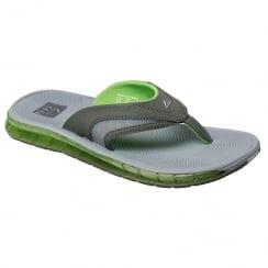 Reef Mens Booster Grey/Green Flip Flops