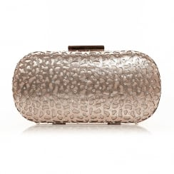 Moda In Pelle Luna Gold Embelished Box Clutch Bag