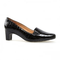 Van Dal WYE Black Patent Croc Leather Mid Heels