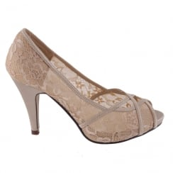 Barino Gold Peep Toe Occasion Heeled Platform Shoes
