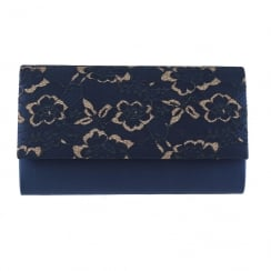 Barino Womens Navy Lace Clutch Bag